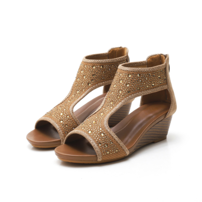 Brown Exotic Crystals T-Strap Wide Fit Wedge Sandals Ladies Shoes