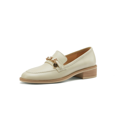 Leather Gold Buckle Round Toe Flats Loafer Spring 2021 Shoes