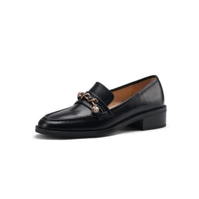 Black Leather Gold Buckle Round Toe Flats Loafer Spring 2021 Shoes