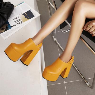 Fall Chunky Buckle Slingback Platform High Heels Boots with Closed Toe