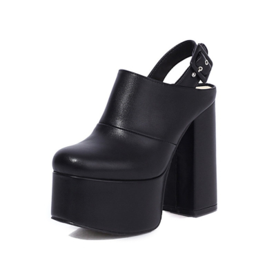 Black Chunky Buckle Slingback Platform High Heels Boots with Closed Toe