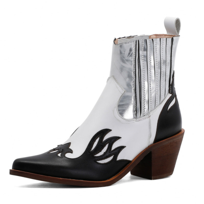 White Cowgirl Ankle Boots Pointed Toe Leather Western Boot Mid Heels
