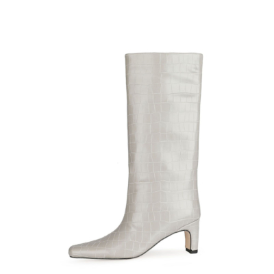 Grey Fall Croc Print Wide Calf Tall Booties Square Toe Low Heel Knee High Boots for Women