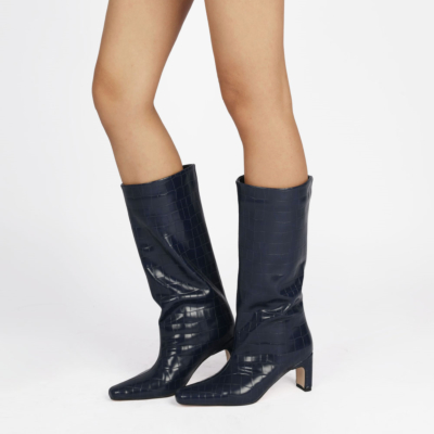Navy Fall Croc Print Wide Calf Tall Booties Square Toe Low Heel Knee High Boots for Women