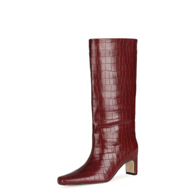 Fall Croc Print Wide Calf Tall Booties Square Toe Low Heel Knee High Boots for Women