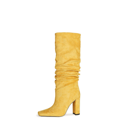 Fall Slouch Boots Chunky Heeled Pull On Knee High Boots