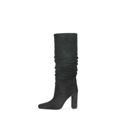 Black Slouch Boots Chunky Heeled Pull On Knee High Boots