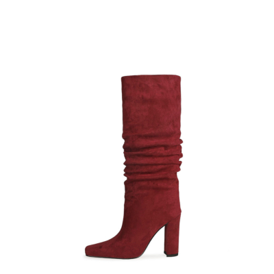 Burgundy Slouch Boots Chunky Heeled Pull On Knee High Boots