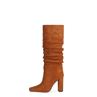 Orange Slouch Boots Chunky Heeled Pull On Knee High Boots