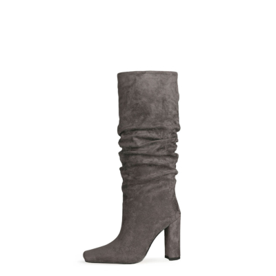 Grey Slouch Boots Chunky Heeled Pull On Knee High Boots