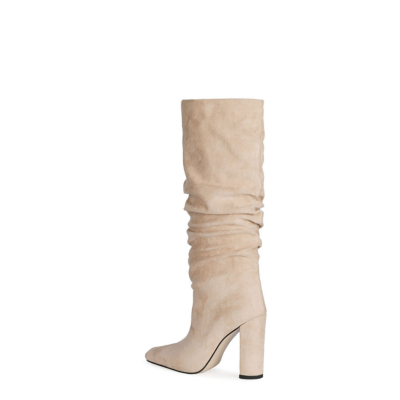 Beige Slouch Boots Chunky Heeled Pull On Knee High Boots