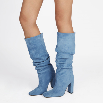 Sky Blue Slouch Boots Chunky Heeled Pull On Knee High Boots