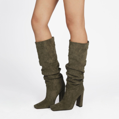 Olive Slouch Boots Chunky Heeled Pull On Knee High Boots-style8