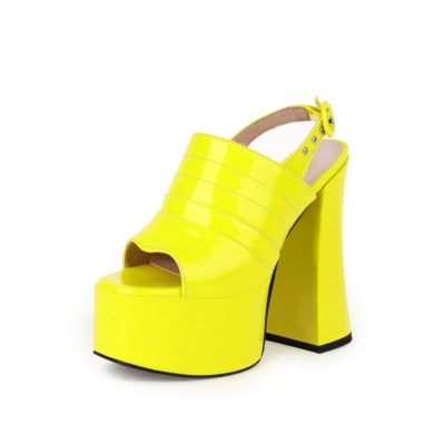 Fashion Striped Open Toe Platform Chunky Heel Sandals with Buckle Slingback