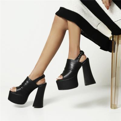 Black Fashion Striped Open Toe Platform Chunky Heel Sandals with Buckle Slingback