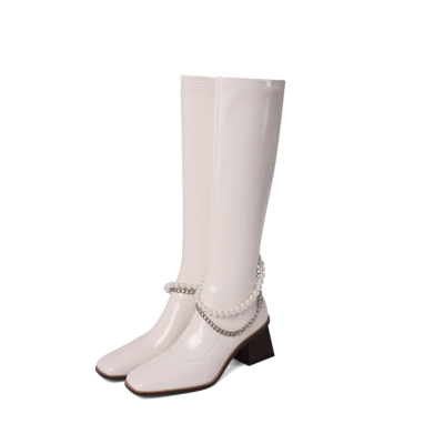 White Patent Leather Chunky Heel Pearls Knee High Boots
