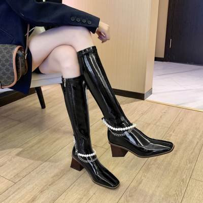 Black Patent Leather Chunky Heel Pearls Knee High Boots