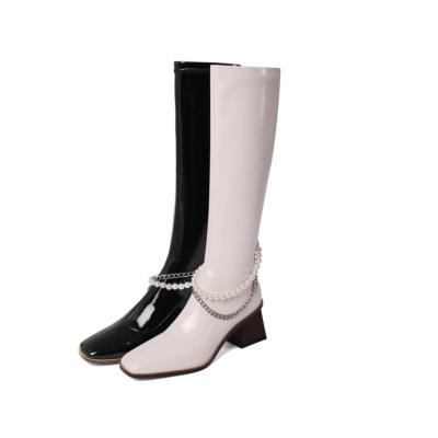 Fashion Chunky Heel Zipper Women's Knee High Boots
