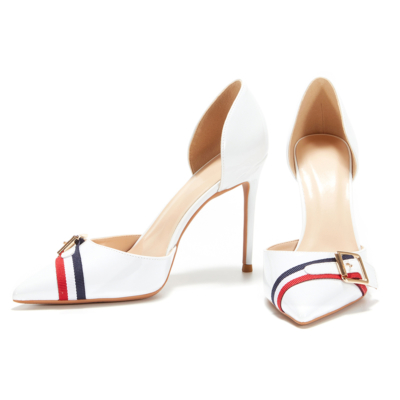 Fashion Cut Out Pumps Patent Leather Buckle D'orsay Office Shoes Stiletto Heels