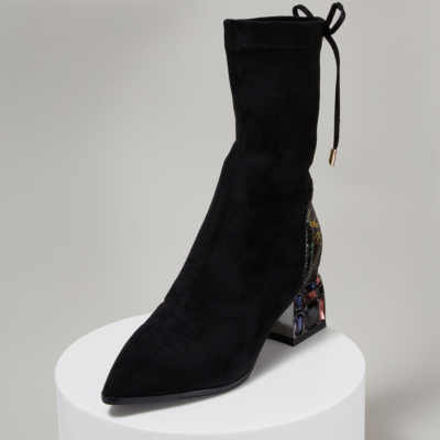 Fashion Lace Up Sock Boots Crystal Chunky Heel Ankle Boot