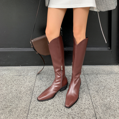 Brown Fashion Leather Low Heel Cowboy Boots Knee High Boots