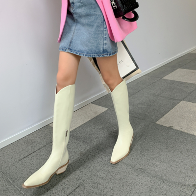White Fashion Leather Low Heel Cowboy Boots Knee High Boots