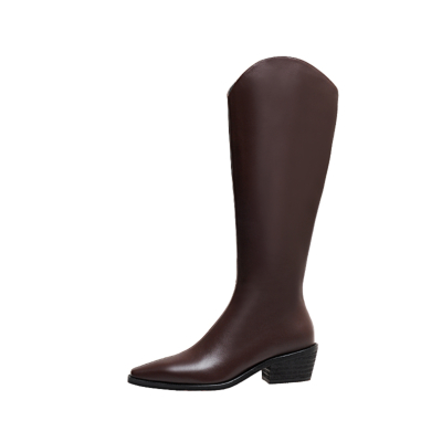 Fashion Leather Low Heel Cowboy Boots Knee High Boots