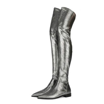 Grey Lizard Grain Flat Over the Knee Winter Boots