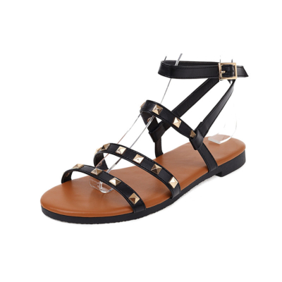 Fashion Multi Straps Rockstud Sandals Flats Beach Sandals with Ankle Strap
