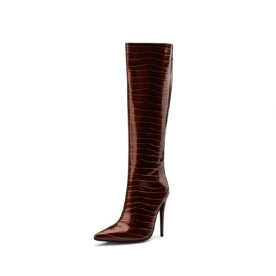 Brown Patent Leather Snake Effect Potined Toe Stiletto Knee High Boots for Winter