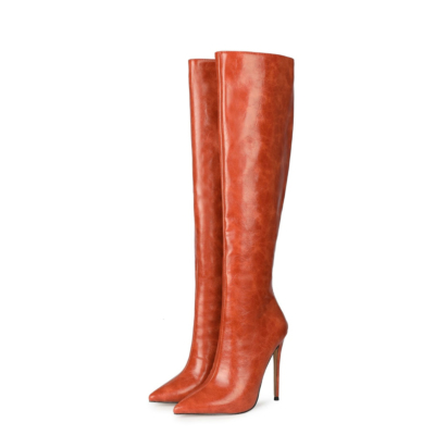 Fashion PU Ladies Winter Pointed Toe Knee High Boots with Heels