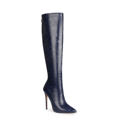 Navy Blue Fashion PU Ladies Winter Pointed Toe Knee High Boots with Heels
