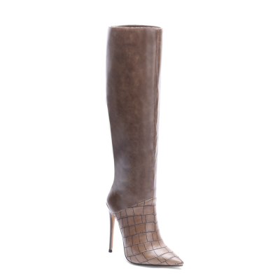 Brown Croc Embossed Leather Pointed Toe Stilettos knee High Boots