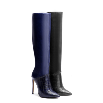 Fashion Snake-Effect Leather Pointy Toe Stilettos knee High Boots