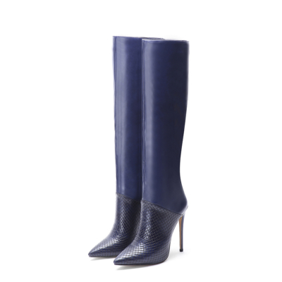 Blue Snake-Effect Leather Pointy Toe Stilettos knee High Boots