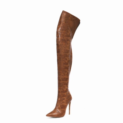 Fashion Snake Embossed Pointed Toe Stilettos Over-the-knee Boots