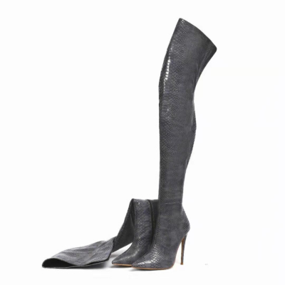 Dark Grey Snake Embossed Pointed Toe Stilettos Over-the-knee Boots