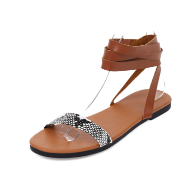 Brown Fashion Snake Print Lace Up Strappy Beach Sandals Flats