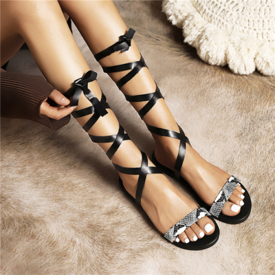 Fashion Snake Print Lace Up Strappy Sandals Flat For Beach