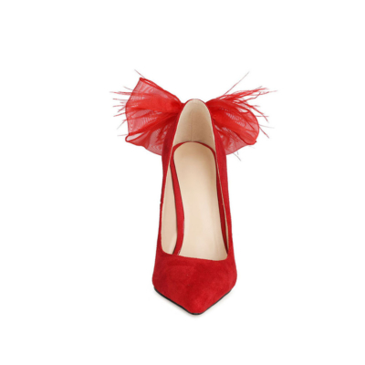 Red Suede Bow Pumps Stiletto High Heel Dance Shoes for Party