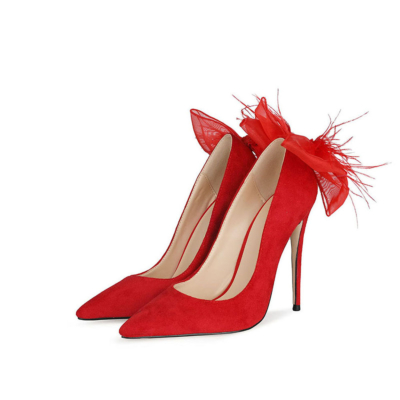 Fashion Suede Bow Pumps Stiletto High Heel Dance Shoes for Party