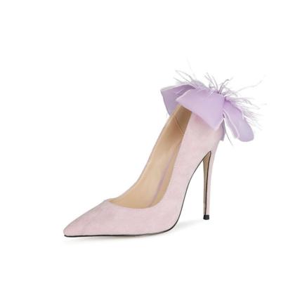 Purple Suede Bow Pumps Stiletto High Heel Wedding Shoes