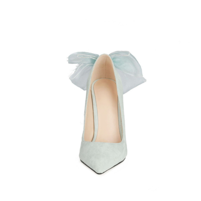Mint Suede Bow Pumps Stiletto High Heel Dance Shoes for Wedding