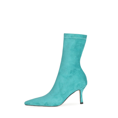 Fashion Suede Elastic Sock Stiletto Ankle Boots Pointed Toe Heels