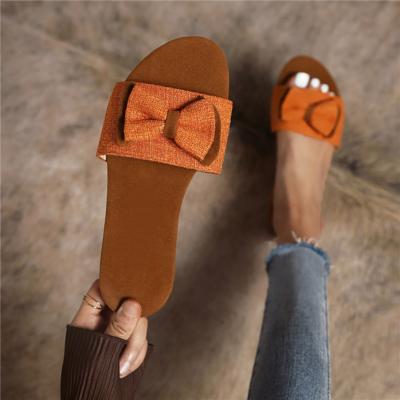 Brown Tweed Bow Slide Sandals Comfy Flat Sandals Open Toe