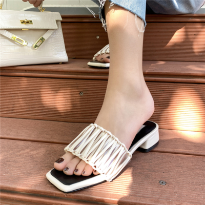 White Woven Slipper Shoes Hollow Out Slide Sandals