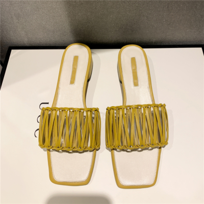 Yellow Woven Slipper Shoes Hollow Out Slide Sandals