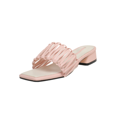 Pink Woven Slipper Shoes Hollow Out Slide Sandals