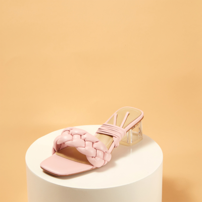 Pink Sqaure Toe Padded Sandals Clear Heel Mule