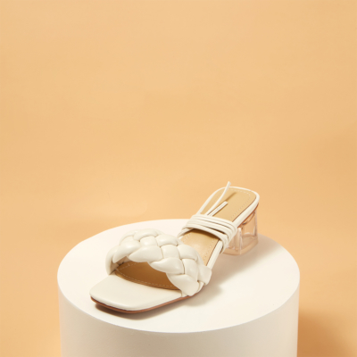 White Sqaure Toe Padded Sandals Clear Heel Mule